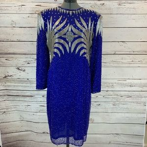 Heavily beaded blue and silver dress